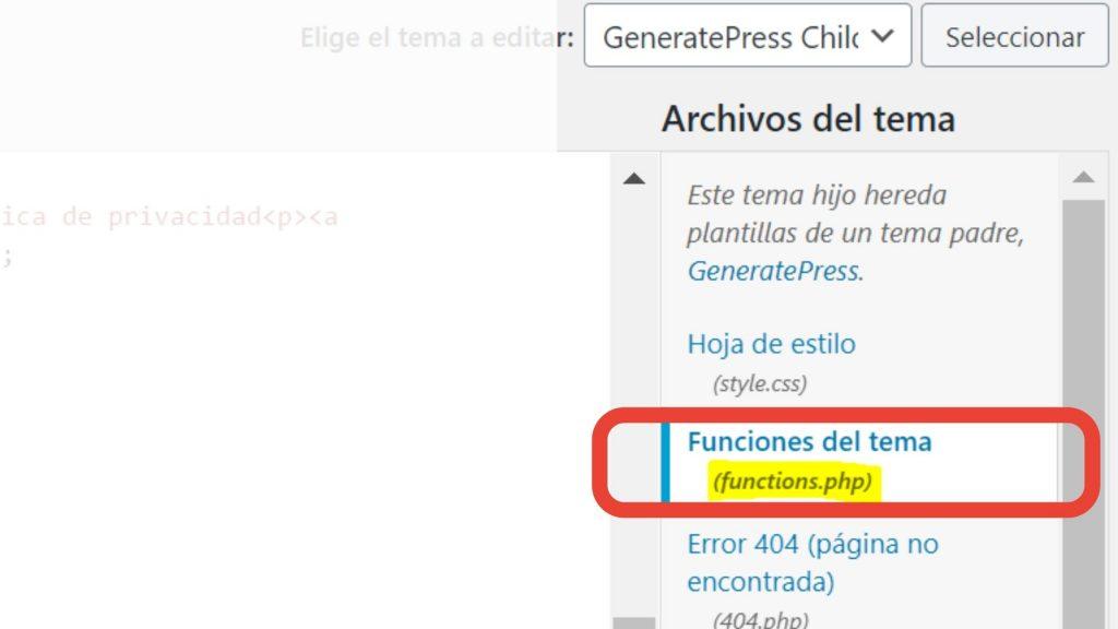 editar fuctions wordpress